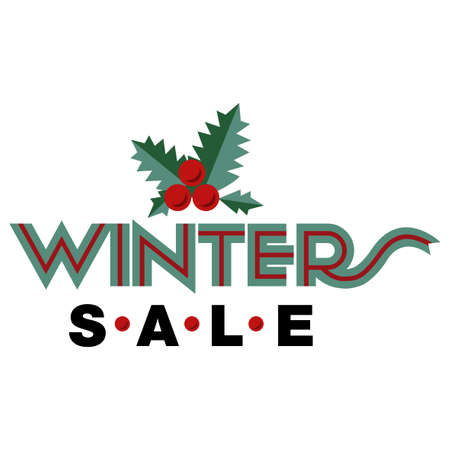 flier: Sale and discount card, banner, flier. Winter sale title. Mistletoe, hand drwan letters composition isolated on white background. Red berries and green leaves. Editable vector illustration template Illustration