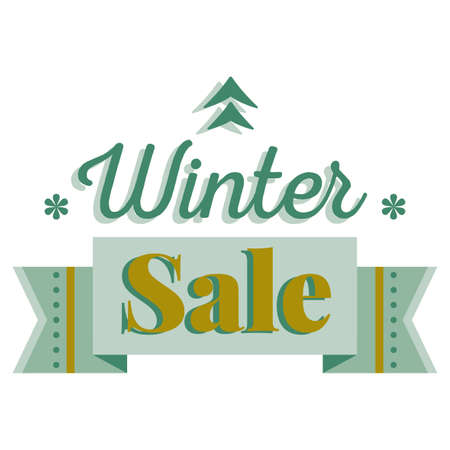 flier: Sale and discount card, banner, flier. Winter sale title. Green pine tree icon, snowflakes, ribbon, hand drwan letters composition isolated on white background. Editable vector illustration template