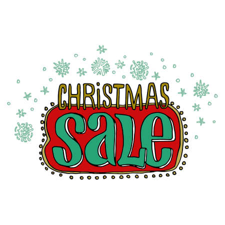 flier: Sale and discount card, banner, flier. Christmas sale title. Green and red color. Falling snowflakes, hand drwan letters composition isolated on white background. Editable vector illustration template