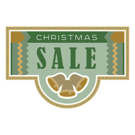 flier: Sale and discount card, banner, flier. Christmas sale title. Green and yellow or golden color. Bells, hand drwan letters composition isolated on white background. Editable vector illustration template