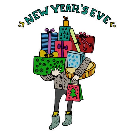 package printing: Happy New Year greeting card. New Years eve title. Different color gift boxes with bows. Wrapping and girt ribbon. Presents for family and close people. Cartoon style. Vector illustration template