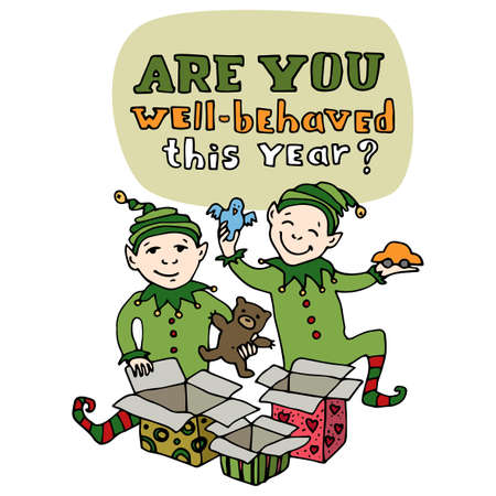 elfos navide�os: Happy New Year and Merry Christmas greeting card. Christmas elves unpack gift boxes and get presents. Are you well-behaved this year question title. Cartoon style Editable vector illustration template