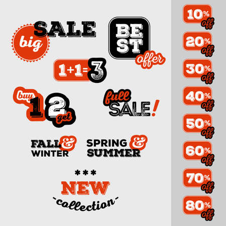 price reduction: Set of sale and discount offer label. Banner, label, flier, card, board. Shabby design. Shopping sticker. Price reduction. Announcement of sale. Trade commerce element. Promo sign. Vector illustration Illustration