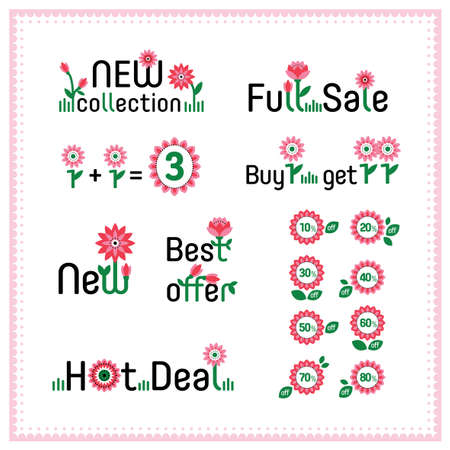 price reduction: Spring sale and discount set of hand drawn cartoon labels. Best offer, hot deal, new collection, new, full sale. Sweet colorful flowers. Banner, flier, board. Shoping sticker. Price reduction. Vector