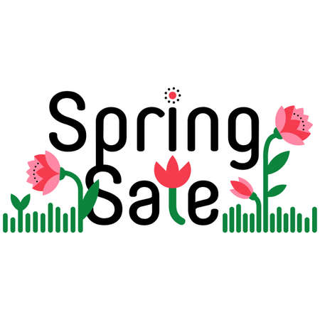 price reduction: Spring sale, discount hand drawn cartoon banner. Shopping sticker. Price reduction. Announcement, flier, board. Trade commerce element. Promo sign. Sweet colorful flowers. Announcement of sale. Vector