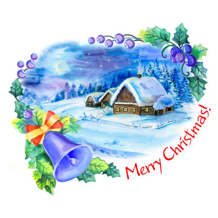 christmas eve: Winter time. Watercolor house with snow on the background. Finished postcard design. Cute banner with a picture of Christmas eve. Hand drawn illustration. Realistic creative work of art. New Year Illustration