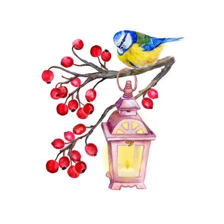 viburnum: Vintage lamp  on the viburnum branch with a titmouse. Spring starts. Red berries and bird. Watercolor decorative element.  T-shirt graphics. For fashion print, poster for textiles, fashion design.