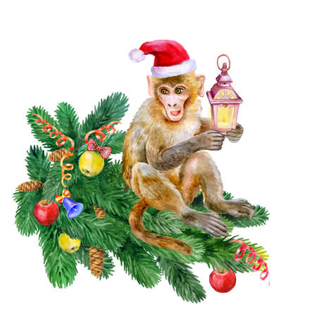 clause: Watercolor monkey with a flashlight in Santa Clause hat. Hand drawn chinese zodiac symbol of New Year 2016. King of monkey. Cute chimpanzee. Greeting card design. Poster. Clip art. Illustration