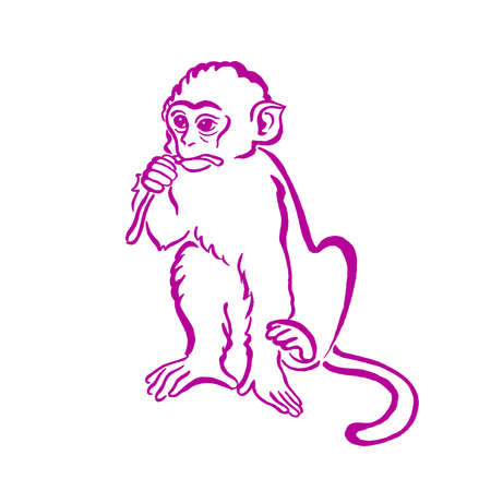 china watercolor paint: Cool monkey T-shirt graphics, monkey chimpanzee watercolor illustration. For fashion print, poster for textiles, fashion design. New Year and Christmas concept. Symbol of Chinese horoscope. Illustration