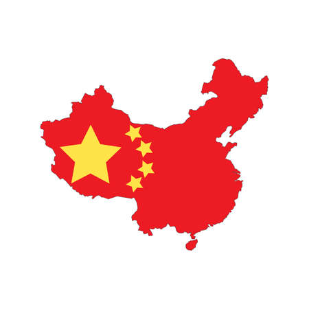 territorial: China state flag with territorial borders. illustration template
