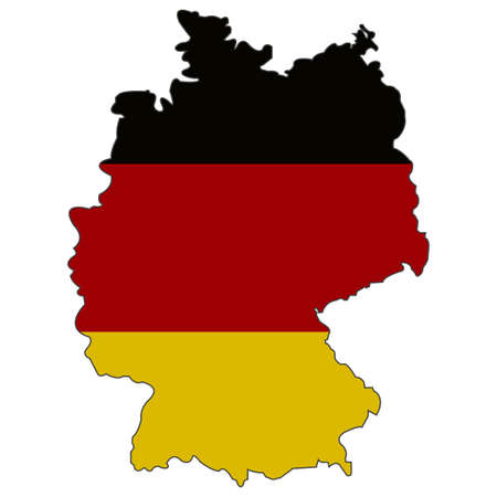 Germany State flag and territorial borders combination. illustration