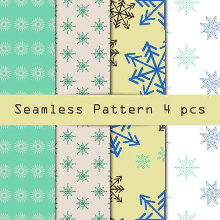 filling material: Winter seamless pattern set. Falling snowflakes. Endless texture can be used for wallpaper, pattern fills, web page background, surface textures, screensaver. Stars geometric ornament. Editable Illustration