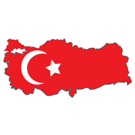 territorial: High resolution Turkey state flag and territorial borders combination. illustration map design Illustration