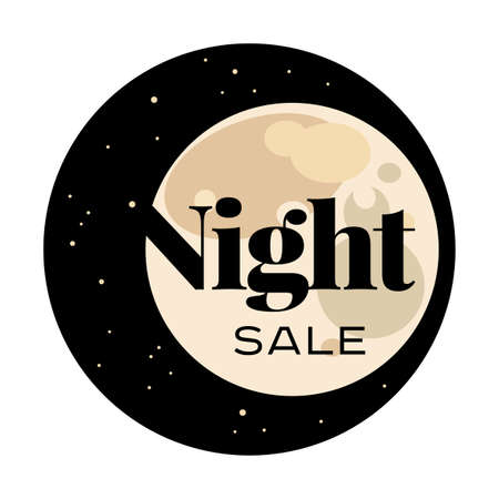 to spend the summer: Sale and discount card. Black friday offer. Night sale title. Moon, planet on black background with stars shining in space sky. Late sell-out. Editable illustration template