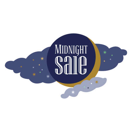 Sale and discount card Black friday offer. Midnight sale title. Cartoon moon, planet on blue background with stars shining in space sky. New moon. Editable illustration template