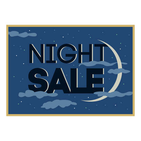 sellout: Sale and discount card. Black friday offer. Night sale title. New moon, planet on blue background with stars shining in cloudy sky. Late sell-out. Editable illustration template Illustration