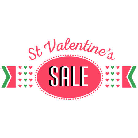 flier: Saint Valentines day sale and discount announcement. Shopping sticker. Price reduction label, flier. Trade commerce element. Promo sign offer. Pink hearts, title. illustration template Illustration