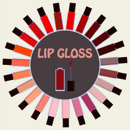 lip gloss: Set of lip gloss isolated on beige background.  Decorative cosmetics palette. Modern girl accessories. Glamour lip gloss. Trendy bright colors. Women collection. illustration editable template