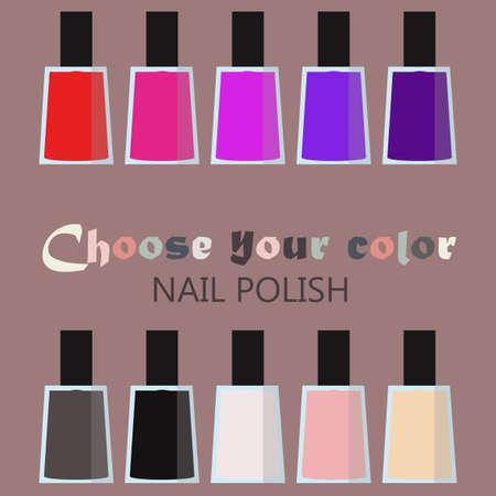 fingernail: Group set of bright nail polish bottles. Women makeup accessory. Many nail polish bottles set in a circle. Various rainbow modern colors. Fingernail and pedicure palette. design illustration.