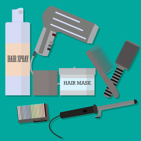 hair mask: Hair styling set. Hairdresser, barber, haircutter tools. Hairdryer, comb, hairbrush, brush, hair mask, hair spray, curling, straightener, invisible hairpin. Beauty salon elements. Beauty shop products