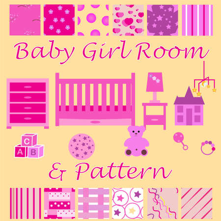 child bedroom: Child room for the newborn girl. Baby girl bedroom with furniture and wallpaper seamless patterns set. Nursery interior. Baby cot, mobile, chest of drawers. Pink color design. visualization