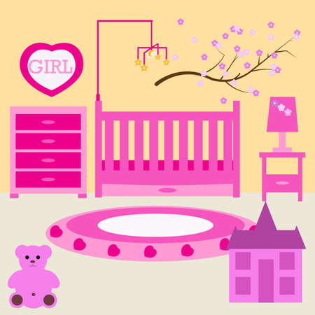 Child room for the newborn girl. Baby girl bedroom with furniture. Nursery interior. Baby cot, baby mobile, chest of drawers, dressing table, doll house, lamp. Pink color design. visualization
