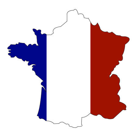 Map and state flag of France. National flag of France with territorial borders. Group of Seven Member. Group of Eight Member. illustration template