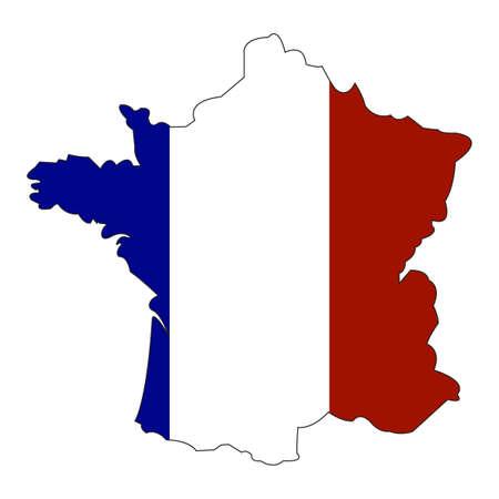 Kaart en de vlag van Frankrijk. Nationale vlag van Frankrijk met de territoriale grenzen. Groep van Zeven leden. Groep van Acht leden. illustratie sjabloon