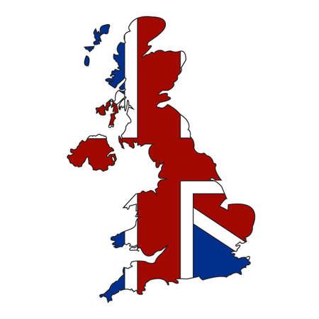 흰색 배경에 고립 된 영국 국기와 영국 및 북 아일랜드의지도. 일러스트 템플릿 일러스트