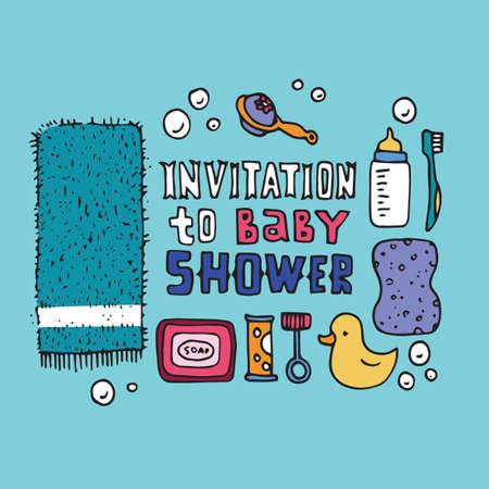 cute baby boy: baby shower invitation template