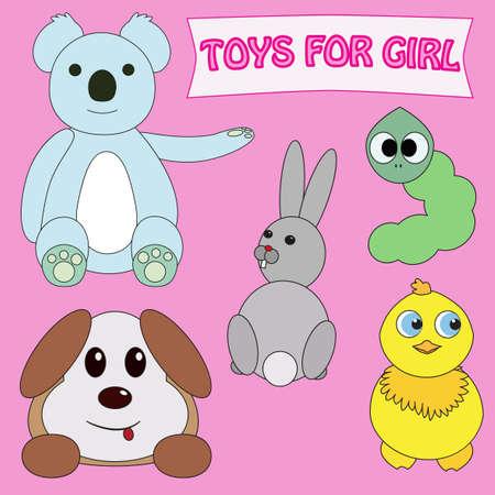 caterpillar cartoon: Toys for girl set isolated on pink background. Teddy bear, hair, rabbit, chicken, dog, puppy, green caterpillar. Cartoon style editable vector illustration template. Newborn baby girl, little princess