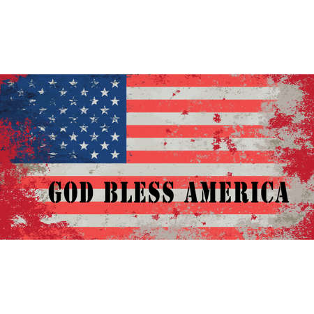 bless: Grunge styled flag of USA. National flag of America. Thirteen equal horizontal red stripes alternating with white, blue rectangle in the canton bearing fifty small stars. God Bless America. Vector art Illustration