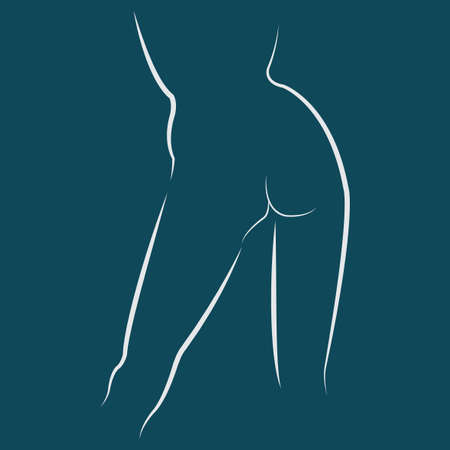Woman naked body erotic silhouette isolated by white lines on blue background. Beautiful hips, back, round booty, long legs. Sketch of naked woman standing back. Editable vector illustration template