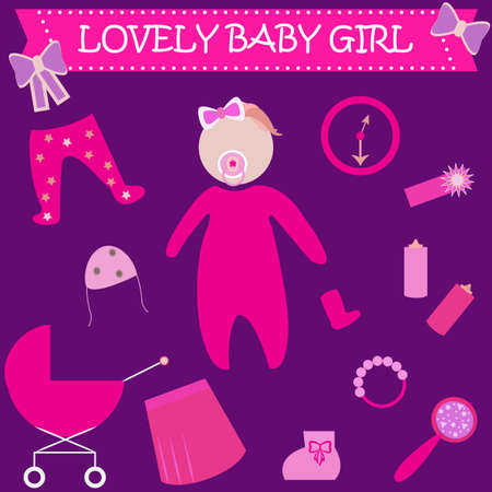 romper: Cute Graphic for Baby Girl. Baby girl newborn lovely greeting card. Baby shower invitation template. Baby carriage, bottle, socks, rattle, mirror, clock, romper suit, bonnet, skirt vector icons