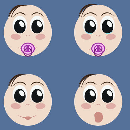 making a face: Set of cute newborn baby emoticons. Very simple but expressive cartoon  baby boy faces. Various baby facial expressions and emotions. Modern flat style. Boy, girl. Editable vector illustration design