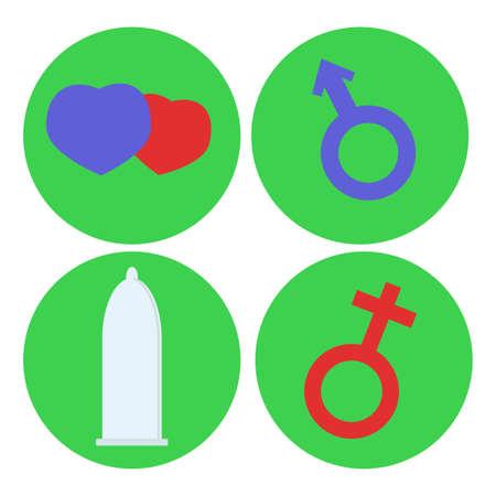 Vector Set van Condom Icon. Mannelijke en vrouwelijke teken. Man en vrouw fusie geslachtsgemeenschap. Vlakke stijl. Kan gebruikt worden voor kinderen op school, peuter studeren contraceptie methoden. Educatieve banner Stock Illustratie