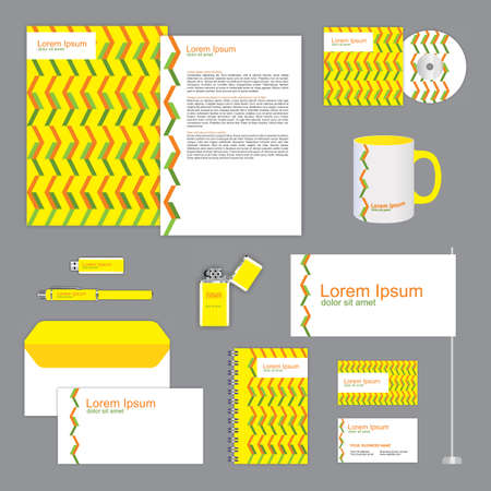 Yellow and green corporate identity design. Classic stationery templates set. business documentation. Editable vector