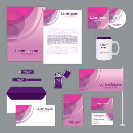 documentation: Violet, purple and pink corporate identity design. Classic stationery templates set. business documentation. Vector