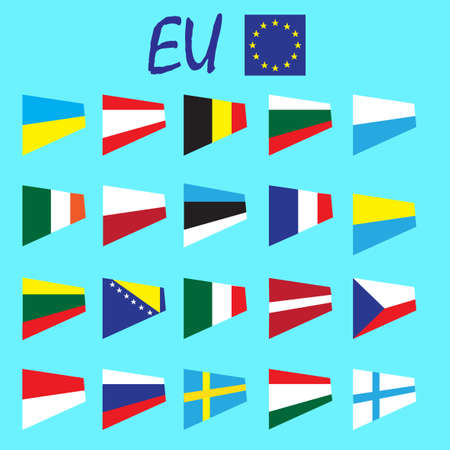 country flags: European Union country flags,member states EU. Europe countries flags set, state national flags. Web site buttons, language identification buttons. Simple flat design. Vector illustration art set