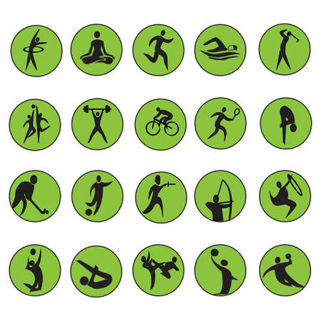 icon buttons: summer sport games 20 twenty icon set isolated on white background. Black silhouette with green round sport signs. Vector illustration editable template. Web site buttons, web signs Illustration