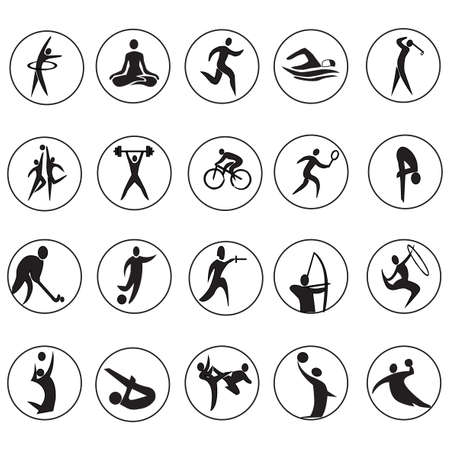 pentathlon: summer sport games 20 twenty icon set isolated on white background. Black silhouette round sport signs. Vector illustration editable template. Web site buttons, web signs