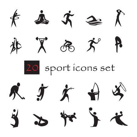pentathlon: summer sport games 20 twenty icon set isolated on white background. Black silhouette sport signs. Vector illustration editable template. Web site buttons, web signs