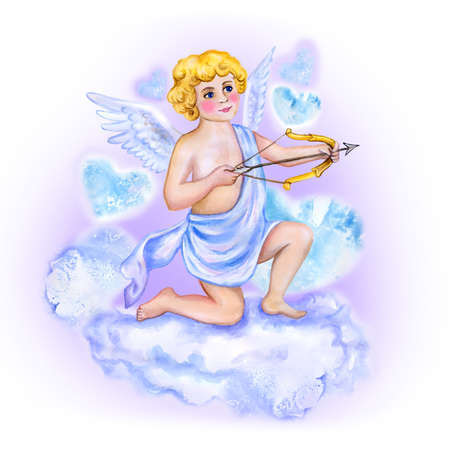 eros: Watercolor drawing of cupid, love angel with wings in the sky. Saint Valentines Day greeting card design. Handsome blond man with bow and arrow. Eros God of Love. Hand drawn painting. Add your text