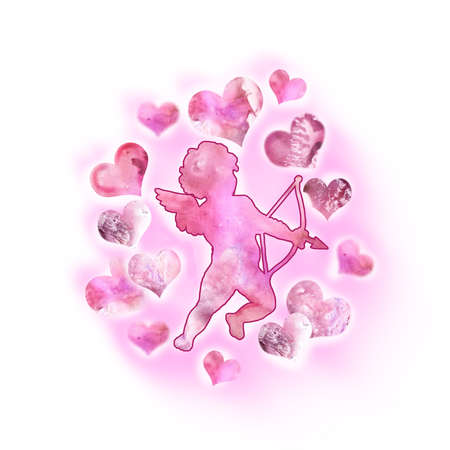 eros: Watercolor drawing of cupid, love angel with wings in the sky. Saint Valentines Day greeting card design. Cute amour silhouette with bow and arrow. Eros God of Love. Hand drawn painting. Add text Stock Photo