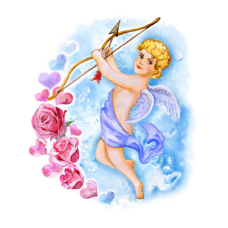 bowman: Watercolor drawing of cupid, love angel with wings in the sky. Saint Valentines Day greeting card design. Handsome blond man with bow and arrow. Eros God of Love. Hand drawn painting. Add your text