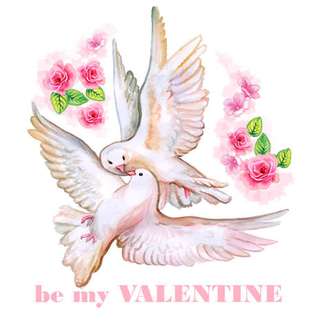 saint valentine's day: Saint Valentines Day greeting card design. Hand drawn Valentine card. Be my Valentine title. Text can be changes for any event. Card with hand painted watercolor roses and doves flying in the sky