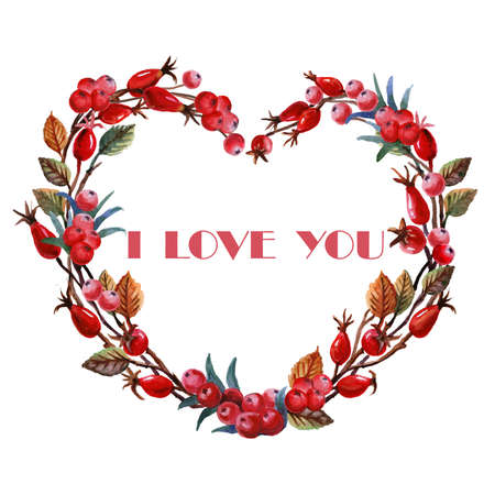 holly day: Holly watercolor heart with rose hips isolated on white background. I love you title. Valentines day. Birthday. Eighth of March. Wedding. Engagement. Illustration for greeting cards, invitations