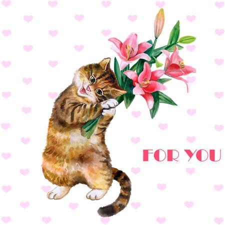Leuke aquarel wenskaart met kat en bloemen geïsoleerd op een witte achtergrond. Mooi katje met lelies. Ideaal voor Valentijnsdag, Verjaardag, de uitnodiging van het Huwelijk poster. Mooie lenteboeket.