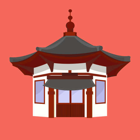 Traditional Chinese House with typical Chinese Lanterns Asian architecture. Japanese culture. Typical asian house. Korean home. Prosperous home. Eastern building. Vector design illustration