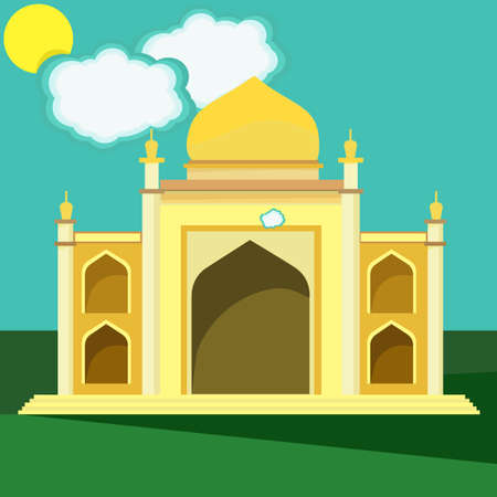 heritage: Mosque. Illustration of building of middle east. Arabian architecture. Creative religious panorama. Emirates heritage. Vector design illustration